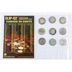 Canada Historical Silver 50 Cent 9 Coins - Early