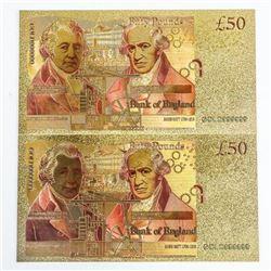 Lot (2) Bank of England 24kt Gold Leaf - Fifty Pou