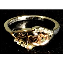 Fashion Love Mum Ring Two Tone Rose Gold MOM on Silver Band Size 6