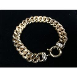 Custom Made Italian 14K Yellow Gold Cuban Link Bracelet