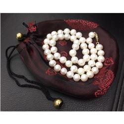 Stunning 49 Round Pearl Necklace With Gold Clasp