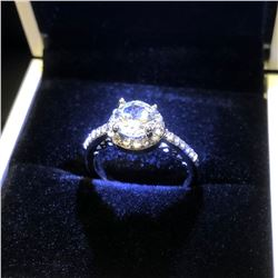 Ladies 925 Silver Marked 2 Carat Main Stone CZ Diamond Ring