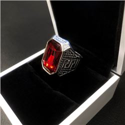 Miao Silver Ring With Red Semi Precious Stone