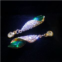 Ladies Gold Tone Long Eardrop Crystal Cubic Zircon Emerald Stud Earrings
