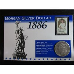 1886 Morgan Silver Dollar & Stamp Historical Facts Card