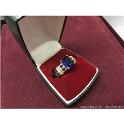 Tanzanite 6ct Main Stone Marked 10kt Woman's Ring With LED Case