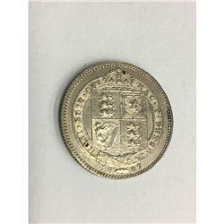 United Kingdom GB 1887 Shilling Queen Victoria British Silver Coin