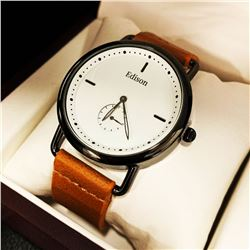 Mens L.A Banus White Dial Formal Stainless Steel Stiched Leather Luxury Band Watch