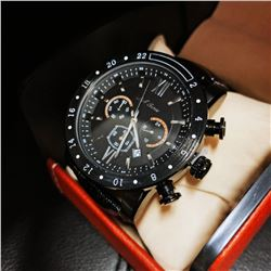 Mens L.A. Banus Space Black Chronograph Genuine Leather Band Watch