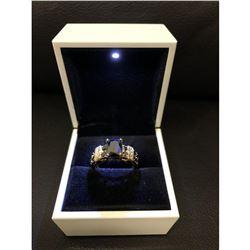 Ladies Black Sapphire 6ct Main Stone Marked 10kt Ring