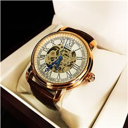 Mens L.A Banus Skeleton Dial Designed Stainless Steel Stitched Leather Luxury Band Watch