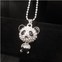 Ladies Rhinestone Black Enameled Panda Pendant Accompanied With 925 Sterling Silver Necklace