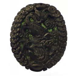 Asian Green Jade Carved Dragon Medallion