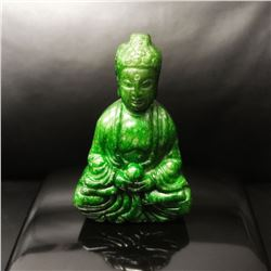 Chinese Hand Carved Green Jade Carved Resting Buddha Figure