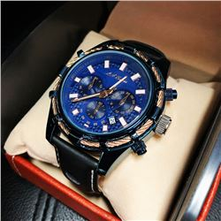 Mens L.A. Banus Neptune Cobalt Blue Chronograph Breathable Genuine Leather Band Watch