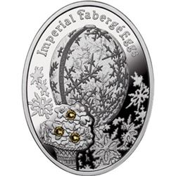 """2012 Poland Mint """"Winter Egg"""" Imperial Faberge Egg - Proof Silver Coin w/ Swarovski Crystals"""