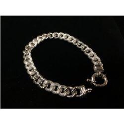 Brilliant Italian Custom Made 14K White Gold Cuban Link Bracelet