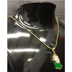Asian Carved Green Jade Foo Dog Pendant On Chain