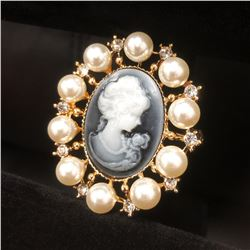 Grey And Gold Pearl Cameo Broach With Silhouette Of A Beauty