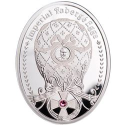 """2012 Poland Mint """"Order of St George"""" Imperial Faberge Egg - Proof Silver Coin w/ Swarovski Crystals"""