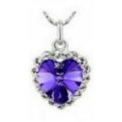 Austrian Crystal with Swarovski Elements - Purple heart necklace