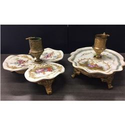 Pair of Rare Old French Painted Porcelain On Guilt Candle Holders