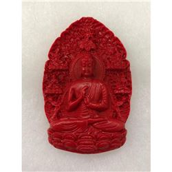 Natural Red Resting Buddha Carved Cinnabar Medallion