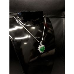 Mounted Green Jade Heart Shape Pendant On 925 Silver Plated Snake Link Necklace