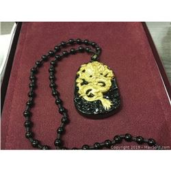 Natural Black And Gold Obsidian Asian Dragon Medallion on a Black Jade Bead Necklace
