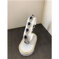 Ladies 925 Silver Bracelet Lined with Semi-Precious Blue Gemstones