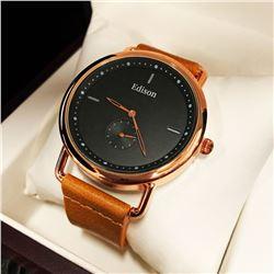 Mens L.A. Banus Royal Rose Chronograph Genuine Leather Band Watch
