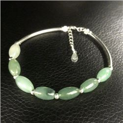 925 Sterling Silver Natural Oval Green Jade Bangle