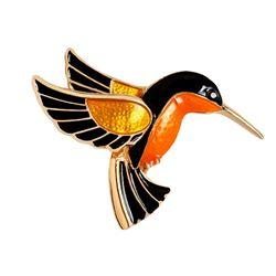 Elegant Ladies Enameled Hummingbird Brooch