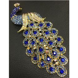 Large Royal Blue Jewel Peacock Broach