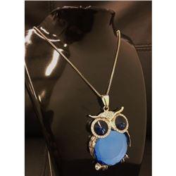 Semi Precious Blue Stone Owl Pendant Cuban 925 Silver Chain