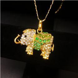 Bejeweled Green And Gold Rhinestone Ganesh Chaturthi Elephant Pendant Paired With Necklace Marked 18