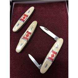 Lot Of 3 Canada Centennial Collector Knives 1967