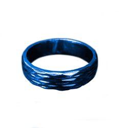 Blue Titanium Steel Rhombus Cut Band Men's Wedding Ring