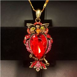 Bejeweled Red Rhinestone Enchanted Owl Pendant Paired With Necklace Marked 18KGP