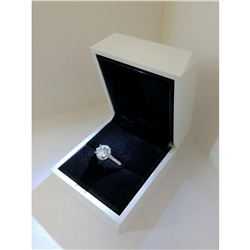 Elegant Ladies 925 Silver Marked 2 Carat Main Stone CZ Diamond Ring