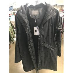NEW WOMENS ICHI BLACK/BLACK POLKA-DOT EXTRA SMALL SIZE COAT