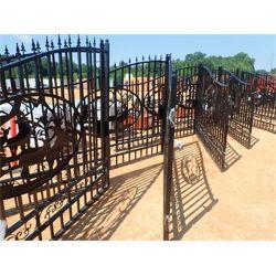"GREATBEAR 20' Wrought Iron Gate bi-parting, ""deer"" artwork in center frame (C-6)"