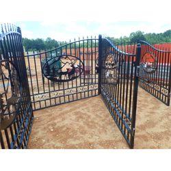 "GREATBEAR 20' Wrought Iron Gate bi-parting, ""deer"" artwork in center frame(C-6)"