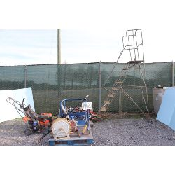 hose reels, skid tanks, transfer pump W/ meter, rotary law mower, ladder, tool box, Selling Offsite: