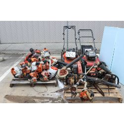 grass trimmers, blowers, chain saws, saw sharpener, lawn mowers, Selling Offsite: Located in Montgom
