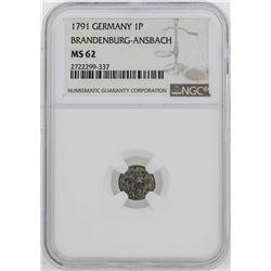 1791 Germany Brandenburg-Ansback 1 Pfenning Coin NGC MS62