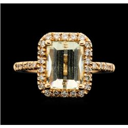 14KT Rose Gold 3.05 ctw Citrine and Diamond Ring