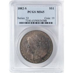 1882-S $1 Morgan Silver Dollar Coin PCGS MS65 Amazing Toning