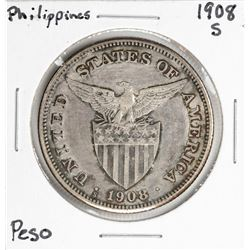 1908-S Philippines 1 Peso Silver Coin