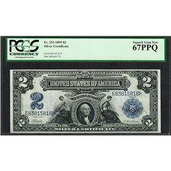 1899 $2 Mini-Porthole Silver Certificate Note Fr.253 PCGS Superb Gem New 67PPQ